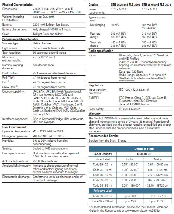 LS3578 Specifications