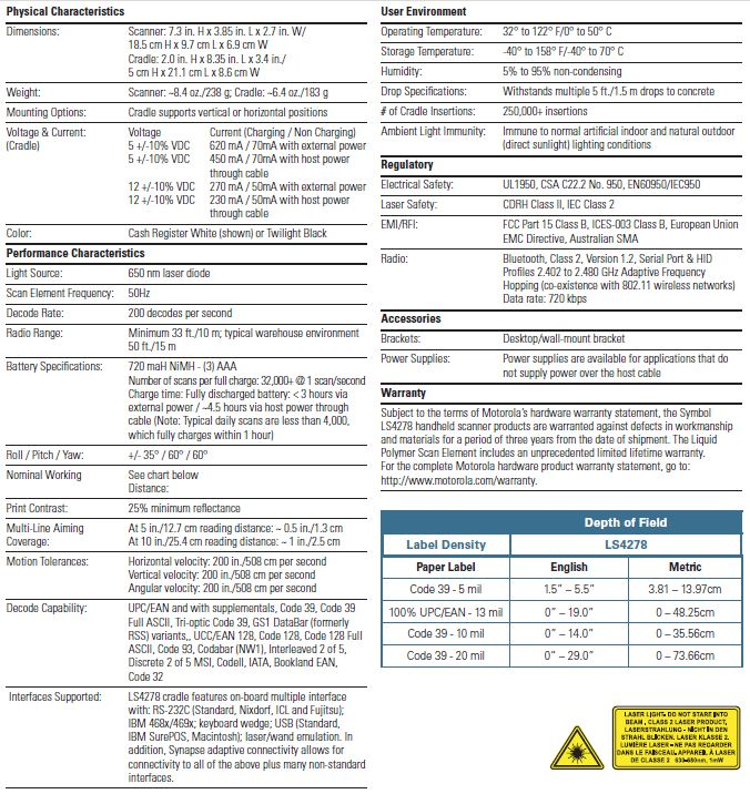 LS4278 Specifications
