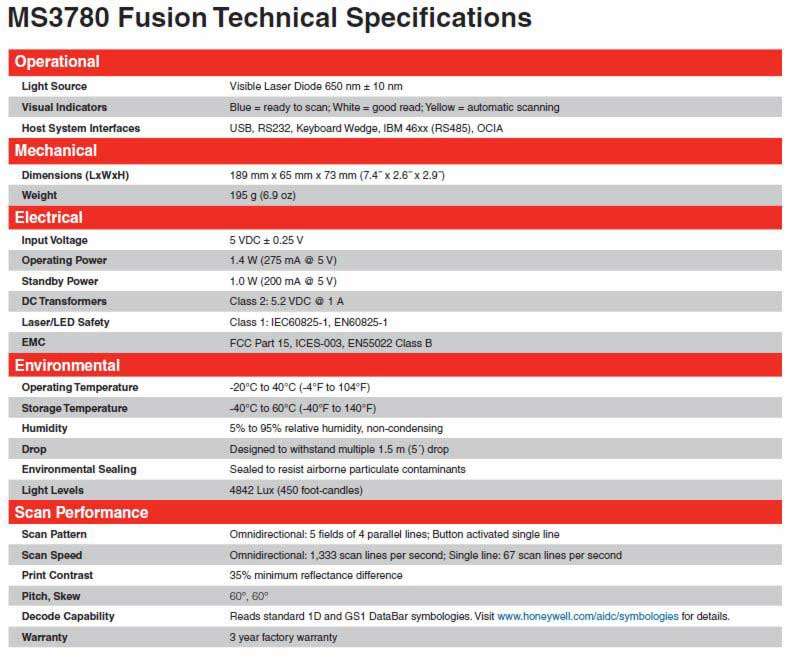 MS3780 Fusion Omni Barcode Scanner Specifications